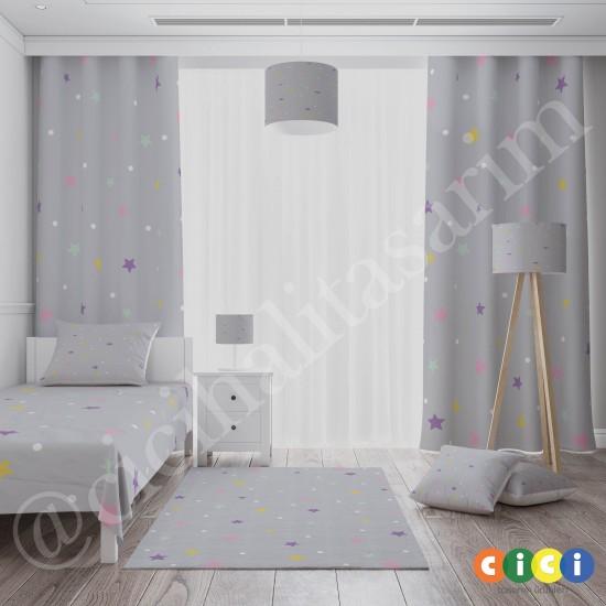 Renkli Yıldızlar ve Puantiyeli Kız Çocuk Odası Fon Perdesi-CFP742