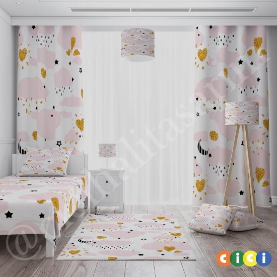 Bulutlar ve Gold Desenli Kız Çocuk Odası Fon Perdesi-CFP746