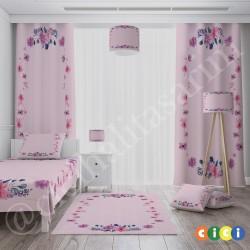 Çiçek Şeritli Kız Çocuk Odası Kırlent-KIR749