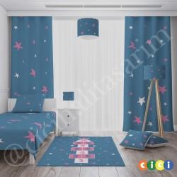 Taçlı Mavi Pembe Kız Çocuk Odası Halısı-CK759