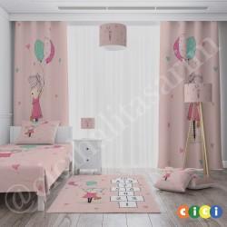 Balon Tutan Sevimli Kız ve Seksek Kız Çocuk Odası Yatak Örtüsü-CYO760