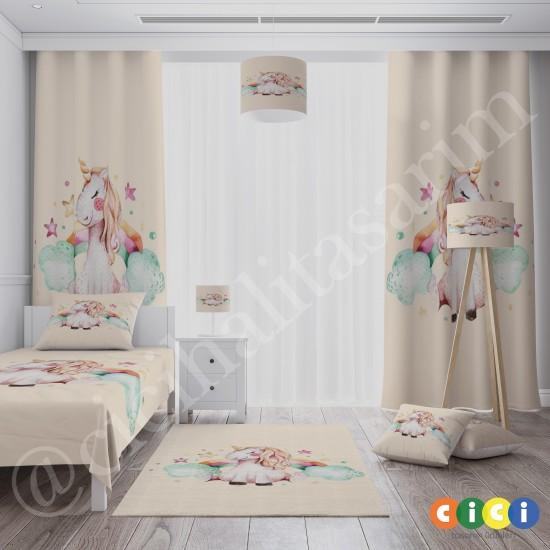 Sevimli Unicorn Kız Çocuk Odası Halısı-CK761
