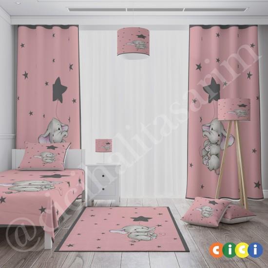 Yıldız ve Fil Kız Çocuk Odası Halısı-CK763