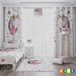Ay Üstünde Oturan Kız Kız Çocuk Odası Fon Perdesi-CFP764