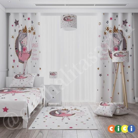 Ay Üstünde Oturan Kız Kız Çocuk Odası Kırlent-KIR764