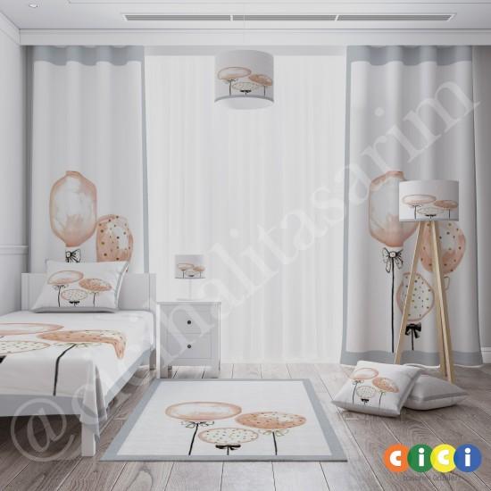 Sulu Boya Efektli Balonlar  Kız Çocuk Odası Halısı-CK765