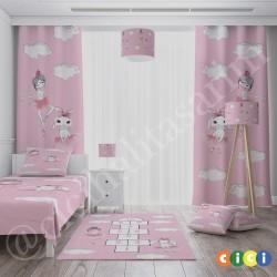 Balerin Tavşan ve Seksek Kız Çocuk Odası Fon Perdesi-CFP767