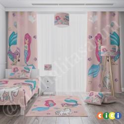 Deniz Kızları Temalı Kız Çocuk Odası Halısı-CK769