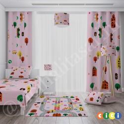Pembe Zemin Trafik Yollu Kız Çocuk Odası Yatak Örtüsü-CYO770