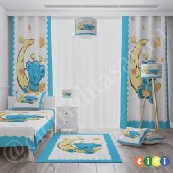 Bebe Mavisi Ay Üstünde Ayicik Bebek Odası  Kırlent-KIR82