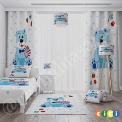 Ayıcık Mavi Puantiyeli Erkek Çocuk Odası  Fon Perdesi-CFP84