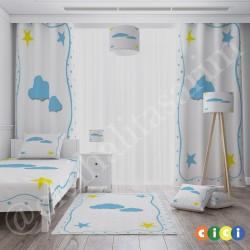 Kenar Puantiyeli Bulut ve Yıldızlar Erkek Çocuk  Yatak Örtüsü-CYO92
