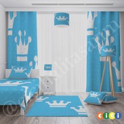 Mavi Zemin Beyaz Büyük Taçlar Erkek Çocuk  Halısı-CE95