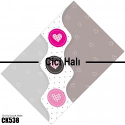 Kalpler Temalı Kız Çocuk Odası Halısı-CK538