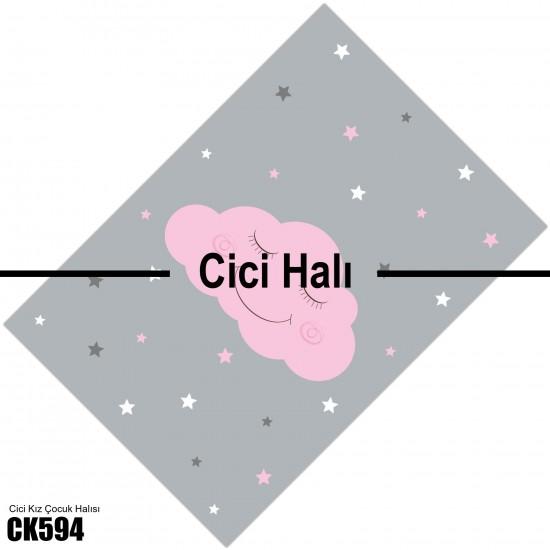 Sevimli Pembe Bulut Kız Çocuk  Halısı-CK594