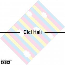 Çizgi Zemin Üzeri Bulutlar Kız Çocuk  Halısı-CK602