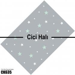 Mint Yeşili ve Beyaz Yıldızlar Kız Çocuk Odası Halısı-CK635