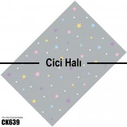 Rengarenk Yıldızlar ve Gri Zemin Kız Çocuk  Halısı-CK639