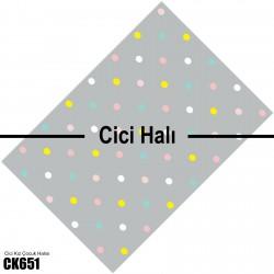 Gri Rengarenk Puantiyeler Kız Çocuk  Halısı-CK651