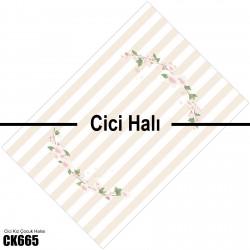 Pembe Şeritler ve Çiçekler Kız Çocuk  Halısı-CK665