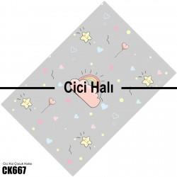 Gri Zemin ve Sevimli Yıldızlar Kız Çocuk  Halısı-CK667