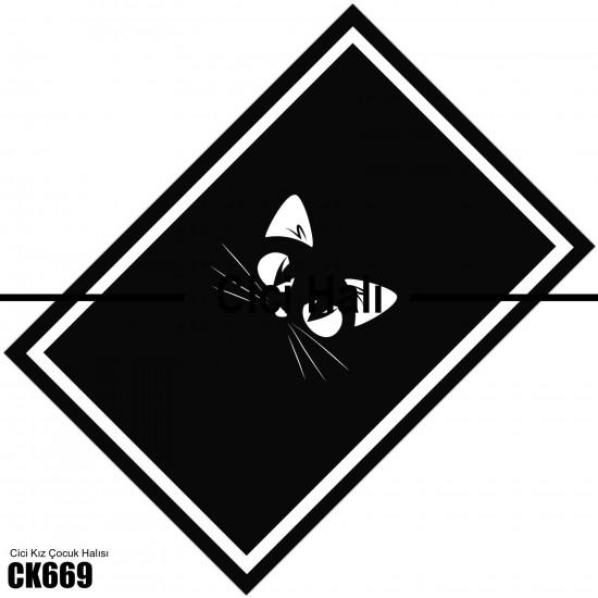 Siyah Kedi Kız Çocuk  Halısı-CK669