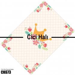 Baklava Zemin Çiçek ve Taç Kız Çocuk  Halısı-CK673
