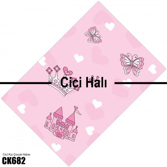 Taç, Şato ve Kelebekler Kız Çocuk  Halısı-CK682