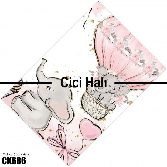 Sevimli Filler ve Balonlar Kız Çocuk  Halısı-CK686