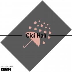 Gri Zemin Pembe Şemsiye ve Kalp Kız Çocuk  Halısı-CK694