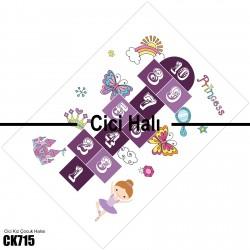 Mor Seksek ve Süs Eşyaları Kız Çocuk  Halısı-CK715