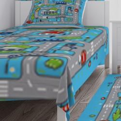 Mavi Zemin Yol ve Şehir Erkek Çocuk Odası  Yatak Örtüsü-CYO109