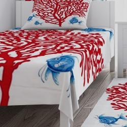 Akvaryum Bitkisi ve Mavi Balıklar Erkek Çocuk Odası Yatak Örtüsü-CYO149