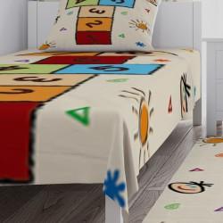 Renkli Sayılar ve Seksek Erkek Çocuk Odası Yatak Örtüsü-CYO155