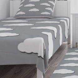 Gri Zemin Beyaz Bulutlar Erkek Çocuk Odası Yatak Örtüsü-CYO185