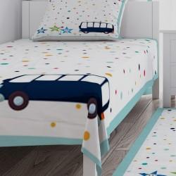 Renkli Puantiyeli ve Otobüs Erkek Çocuk Odası Yatak Örtüsü-CYO193