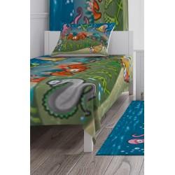 Deniz Altı Şehiri, Ahtapot, Kaplumbağa, Balık, Yengeç, Deniz Kabuğu ve Sevimli Yılan Desenli Erkek Çocuk Odası  Yatak Örtüsü-CYO20
