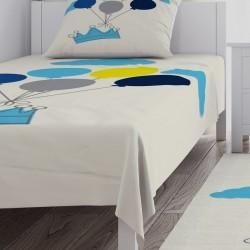 Mavi Taç, Bulutlar ve Renkli Balonlar Erkek Çocuk  Yatak Örtüsü-CYO219