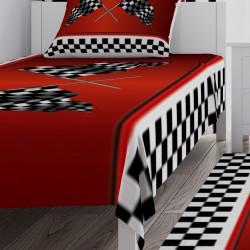 Kırmızı Zemin Yarış Bayrakları Erkek Çocuk Odası Yatak Örtüsü-CYO23