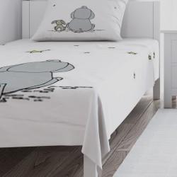 Beyaz Zemin Fil Tavşan ve Yıldızlar Erkek Çocuk  Yatak Örtüsü-CYO253