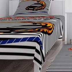 Çizgi Desenli Yarış Arabası Erkek Çocuk Odası Yatak Örtüsü-CYO275