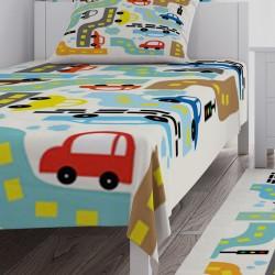Renkli Arabalar ve Yollar Erkek Çocuk Odası Yatak Örtüsü-CYO277
