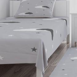 Gri Zemin Bulut ve Yıldızlar Erkek Çocuk Odası  Yatak Örtüsü-CYO289