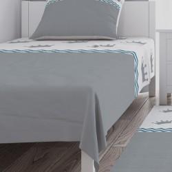 Gri-Beyaz Zemin Taçlar ve Mavi Zigzaglı Erkek Çocuk Odası Yatak Örtüsü-CYO293