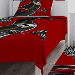 Kırmızı Zemin Yarış Arabaları Erkek Çocuk Odası Yatak Örtüsü-CYO294