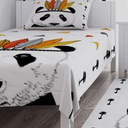 Beyaz Zemin Panda Erkek Çocuk Odası Yatak Örtüsü-CYO310