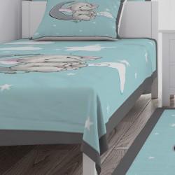 Ay Üzerinde Fil ve Yıldızlar Erkek Çocuk Odası Yatak Örtüsü-CYO318