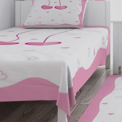 Sarkıt Kalpler Toz Pembe Kız Çocuk Odası Yatak Örtüsü-CYO546
