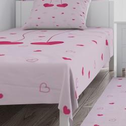 Pembe Serpme Kalpli Kız Çocuk Odası  Yatak Örtüsü-CYO547