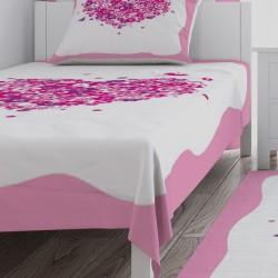 Çiçekli Kalp Kız Çocuk Odası Yatak Örtüsü-CYO582
